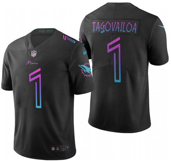Men's Miami Dolphins #1 Tua Tagovailoa black vapor Limited Stitched NFL Jersey