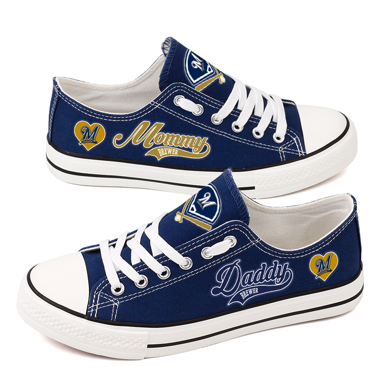 Women and Youth MLB Milwaukee Brewers Repeat Print Low Top Sneakers 003