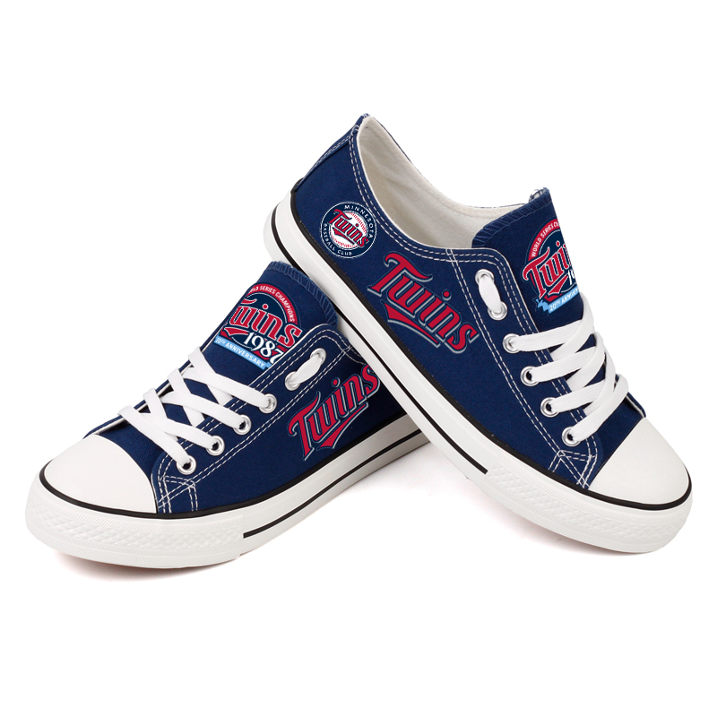 Women and Youth MLB Minnesota Twins Repeat Print Low Top Sneakers 003