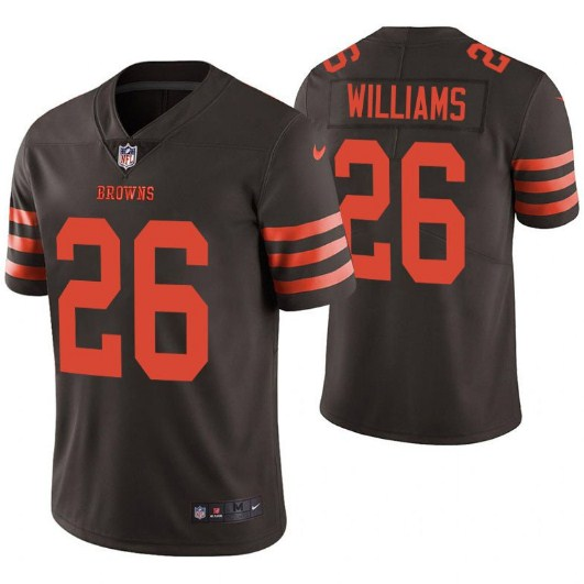 Men's Cleveland Browns #26 Greedy Williams Brown Color Rush Limited Stitched NFL Jersey