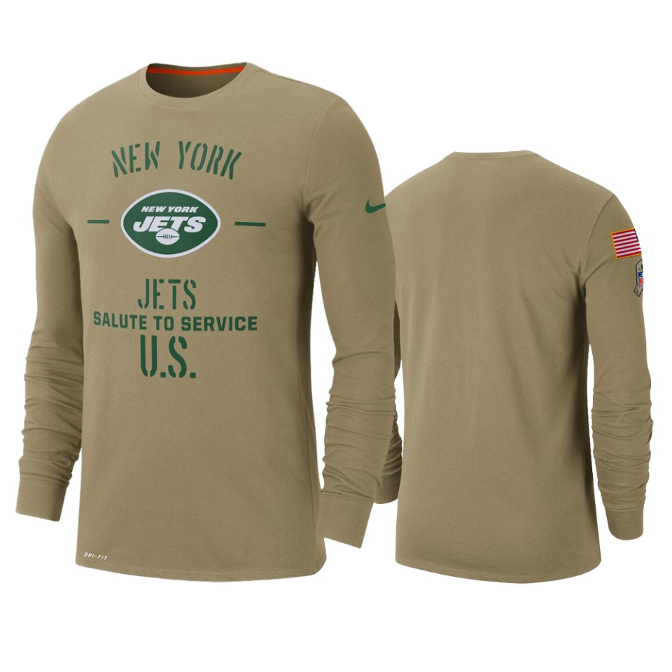 Men's New York Jets Tan 2019 Salute To Service Sideline Performance Long Sleeve Shirt.