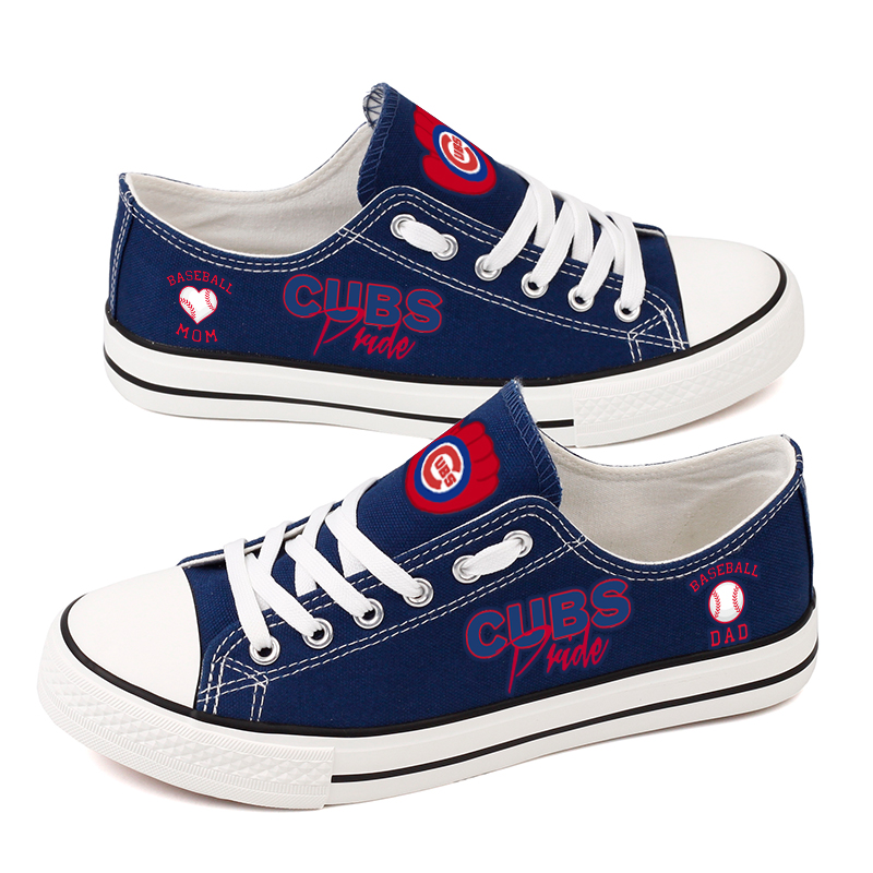 Women and Youth Chicago Cubs Repeat Print Low Top Sneakers 007