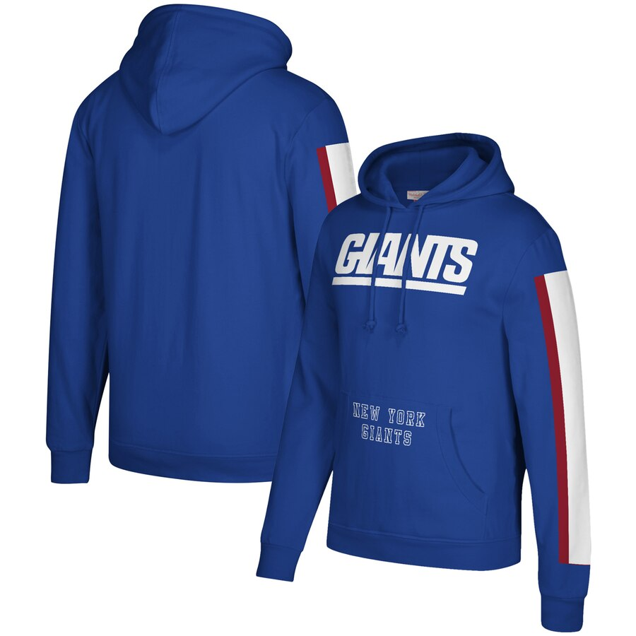 Men's New York Giants 2019 Royal Mitchell & Ness Three Stripe Pullover Hoodie