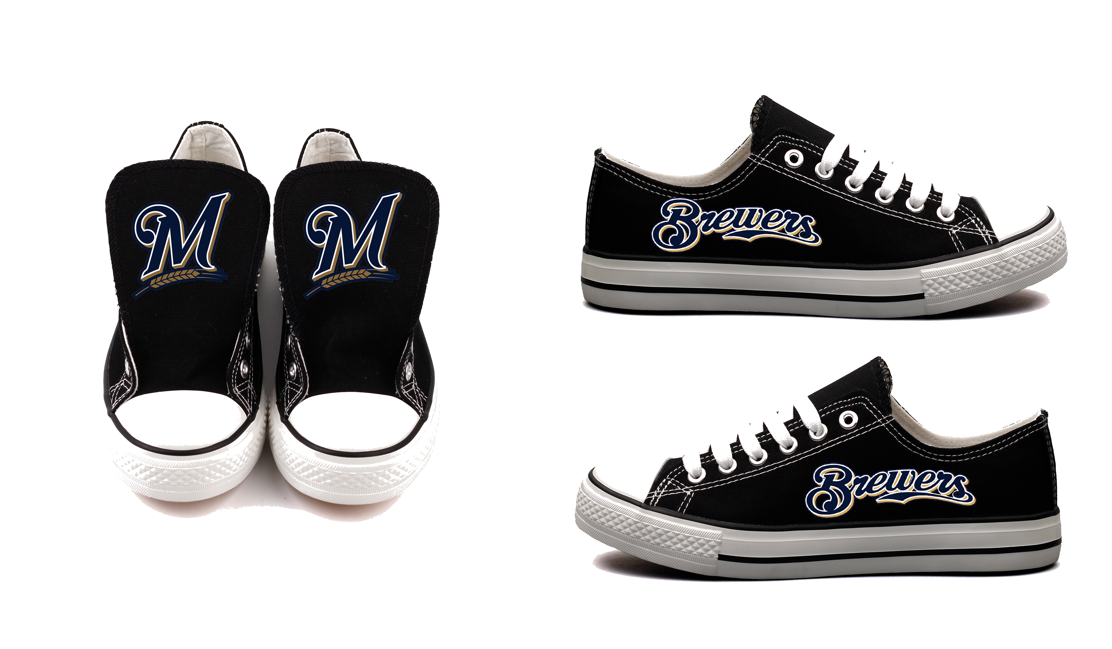 Women and Youth MLB Milwaukee Brewers Repeat Print Low Top Sneakers 004