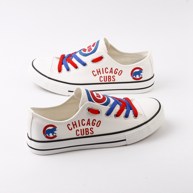 Women and Youth MLB Chicago Cubs Repeat Print Low Top Sneakers