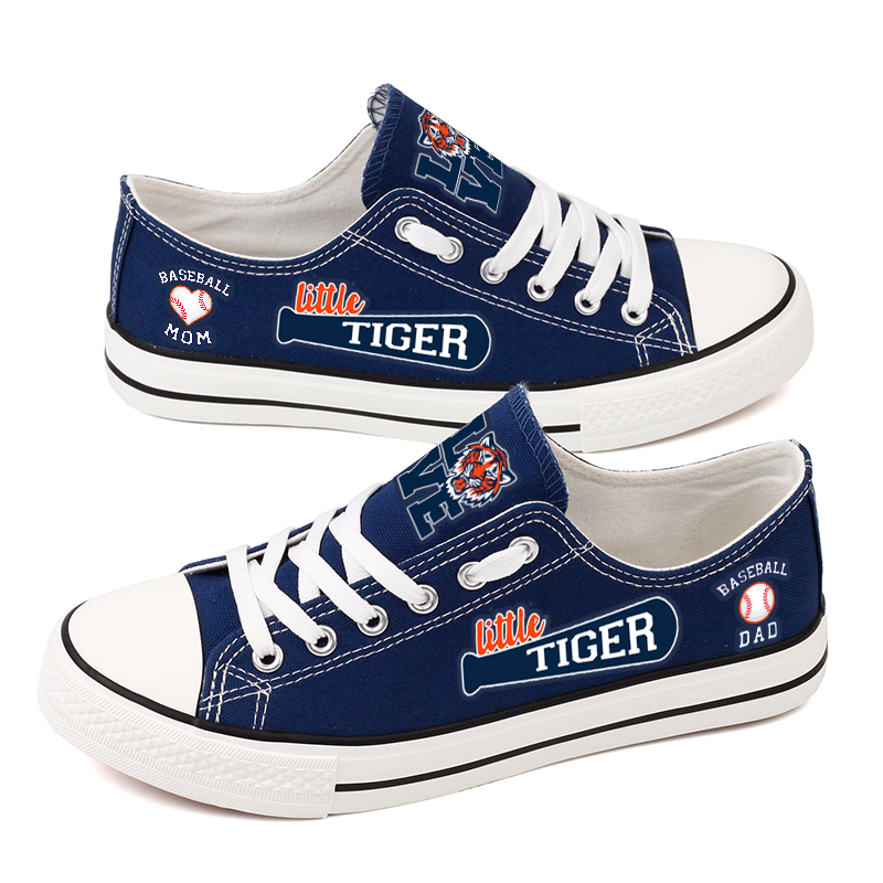 Women and Youth MLB Detroit Tigers Repeat Print Low Top Sneakers 003