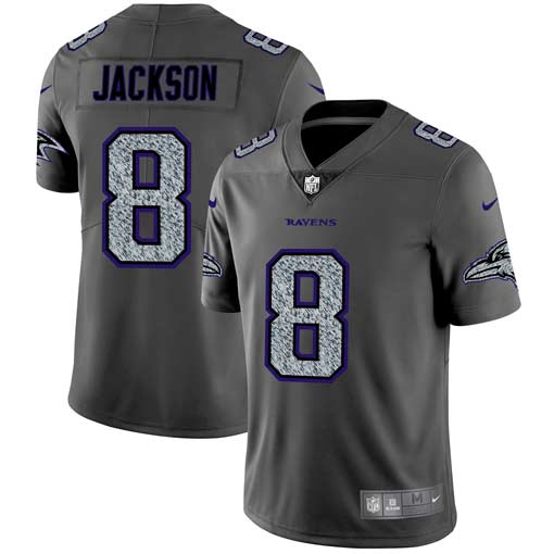Men's Baltimore Ravens #8 Lamar Jackson 2019 Gray Fashion Static Limited Stitched NFL Jersey..