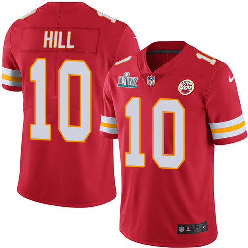 Men's Chiefs #10 Tyreek Hill Red Super Bowl LIV Stitched NFL Limited Rush Jersey