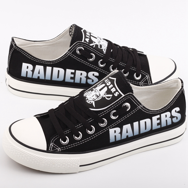 All Sizes NFL Oakland Raiders Repeat Print Low Top Sneakers 002