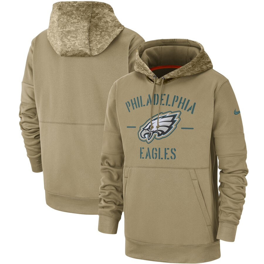 Men's Philadelphia Eagles Tan 2019 Salute To Service Sideline Therma Pullover Hoodie.