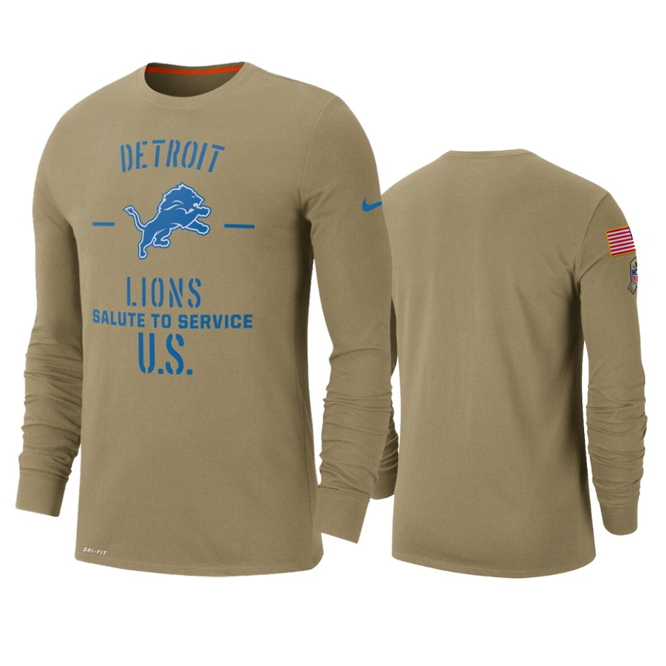 Men's Detroit Lions Tan 2019 Salute To Service Sideline Performance Long Sleeve Shirt