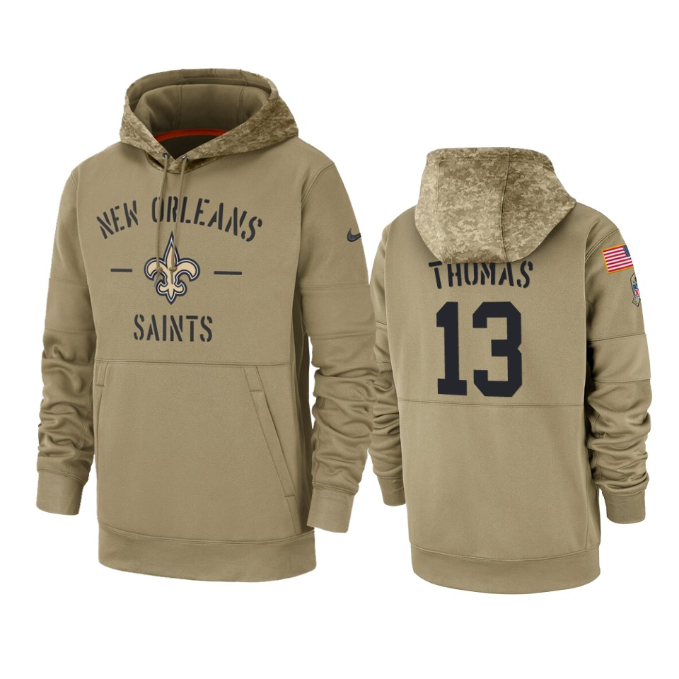Men's New Orleans Saints #13 Michael Thomas Tan 2019 Salute To Service Sideline Therma Pullover Hoodie