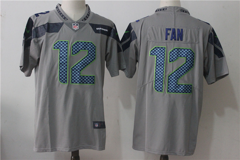 Men's Nike Seattle Seahawks #12 Fan Grey Stitched NFL Vapor Untouchable Limited jersey