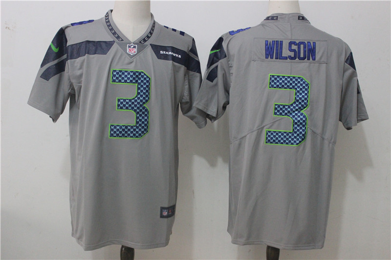 Men's Nike Seattle Seahawks #3 Russell Wilson Gray Stitched NFL Vapor Untouchable Limited jersey