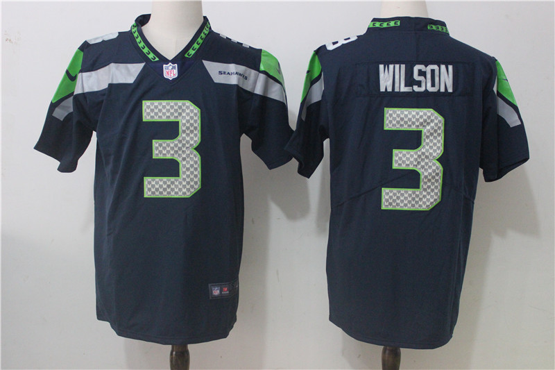 Men's Nike Seattle Seahawks #3 Russell Wilson Steel Blue Team Color Stitched NFL Vapor Untouchable Limited Jersey