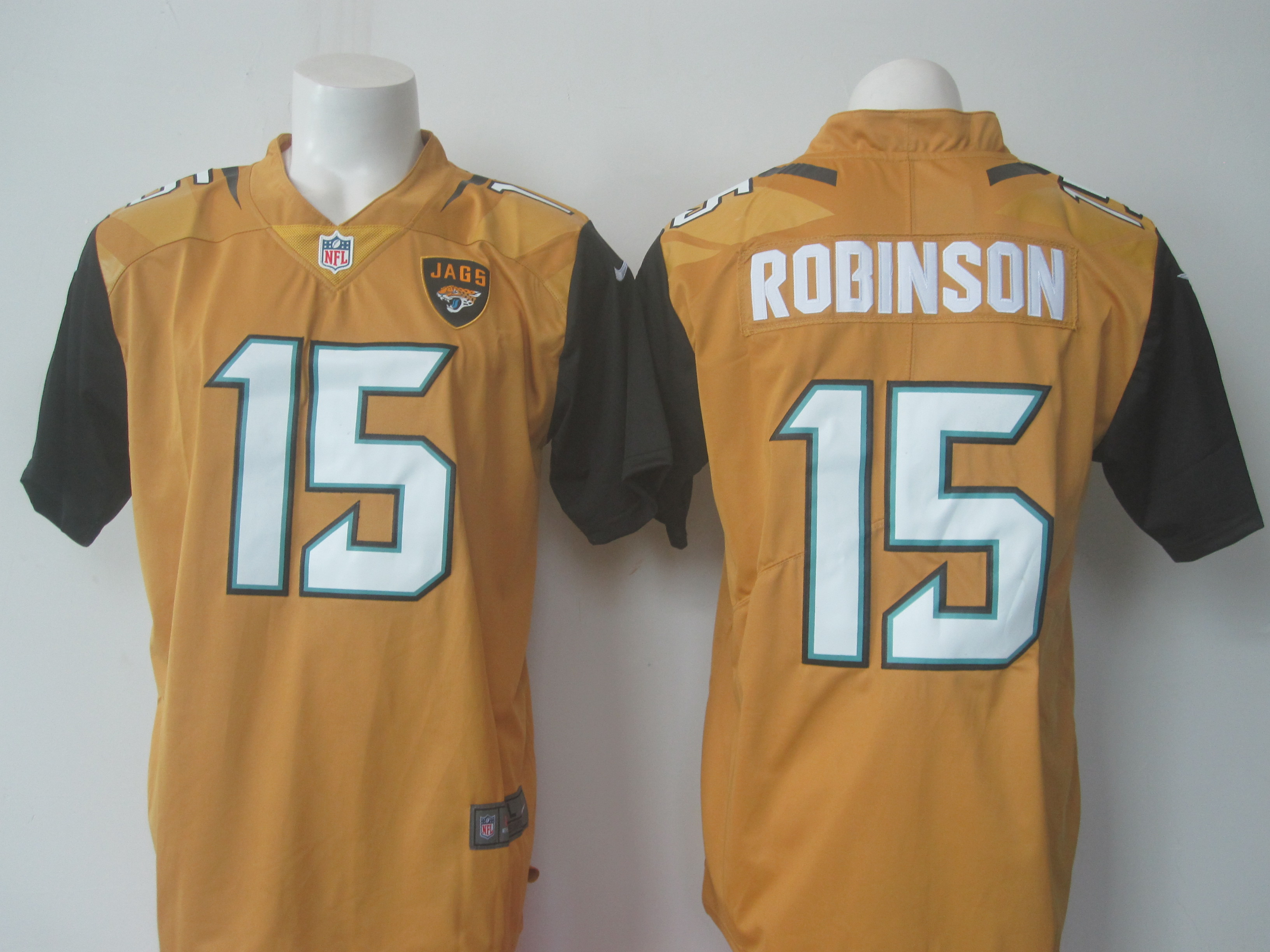 Men's Nike Jaguars #15 Allen Robinson Gold Limited Rush Stitched NFL Jersey