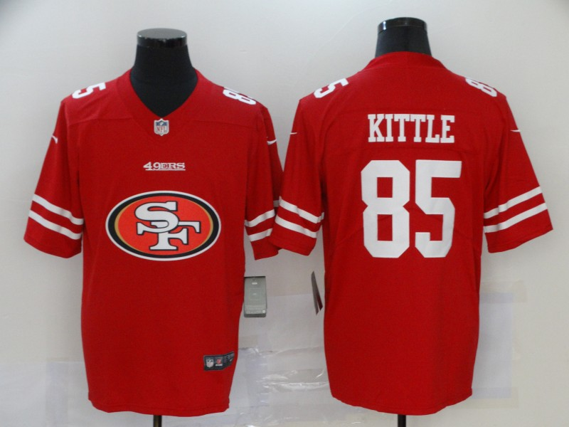 Men's San Francisco 49ers #85 George Kittle Red 2020 Team Big Logo Limited Stitched NFL Jersey