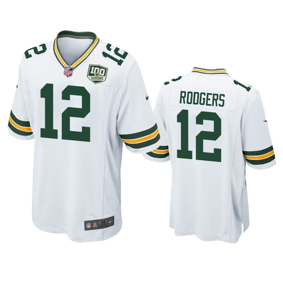 Men's Green Bay Packers #12 Aaron Rodgers White 2019 100th Season NFL Game Jersey