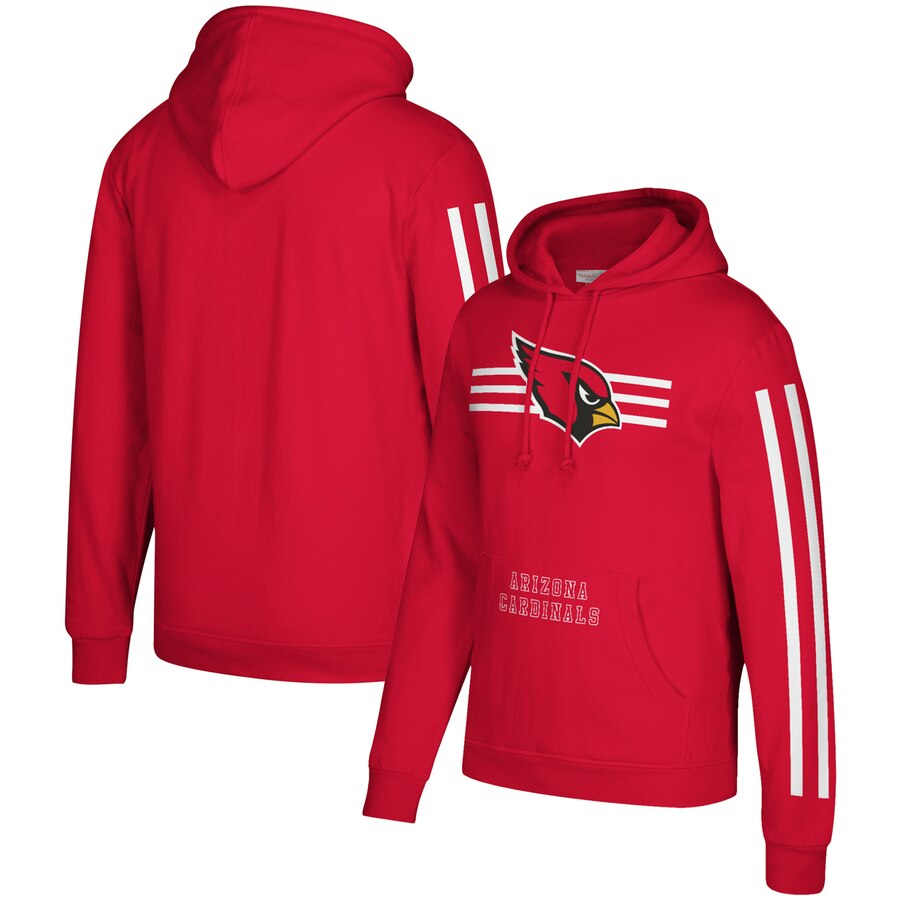 Men's Arizona Cardinals 2019 Red Mitchell & Ness Three Stripe Pullover Hoodie