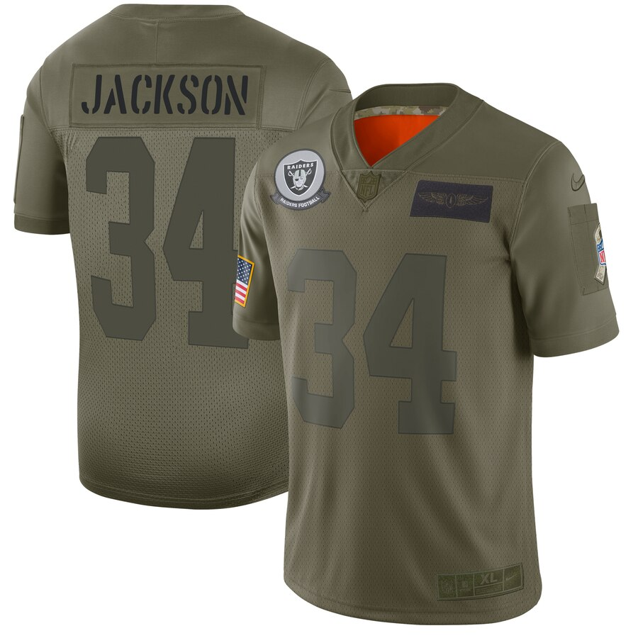 Men's Oakland Raiders #34 Bo Jackson 2019 Camo Salute To Service Limited Stitched NFL Jersey..