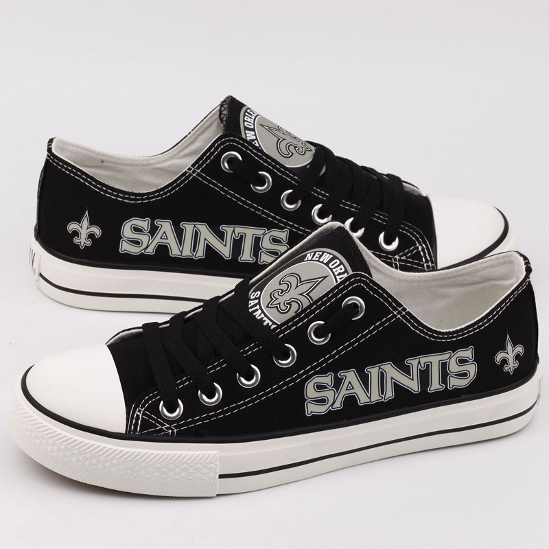 Women Or Youth NFL New Orleans Saints Repeat Print Low Top Sneakers 002