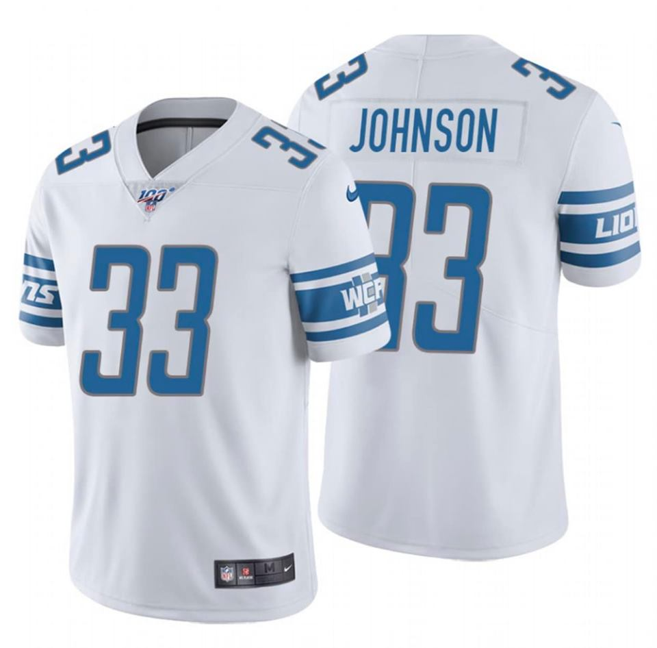 Men's Detroit Lions #33 Kerryon Johnson White 2019 100th Season Vapor Untouchable Limited Stitched NFL Jersey