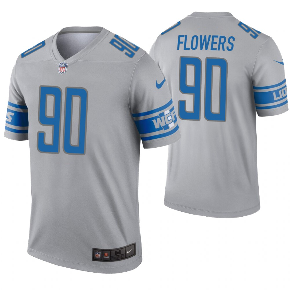 Men's Detroit Lions #90 Trey Flowers Gray Inverted Legend Jersey