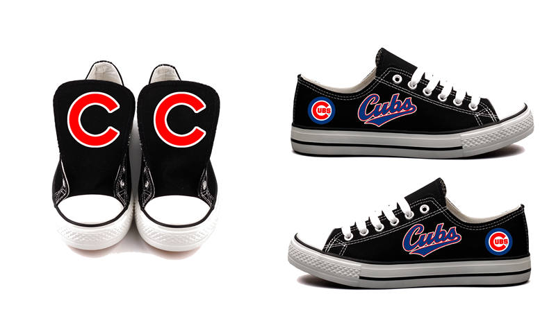 Women and Youth Chicago Cubs Repeat Print Low Top Sneakers 003