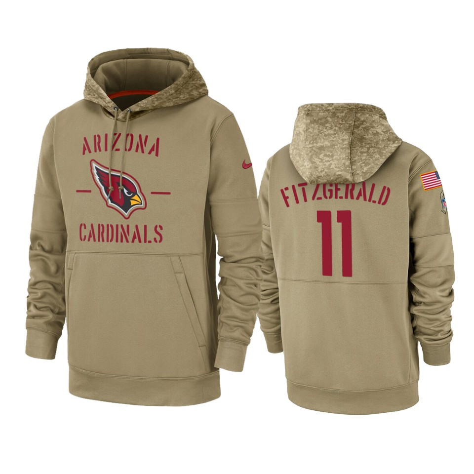 Men's Arizona Cardinals #11 Larry Fitzgerald Tan 2019 Salute To Service Sideline Therma Pullover Hoodie