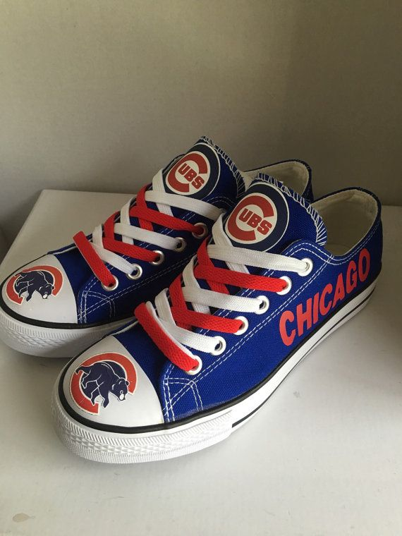 Women and Youth Chicago Cubs Repeat Print Low Top Sneakers 004