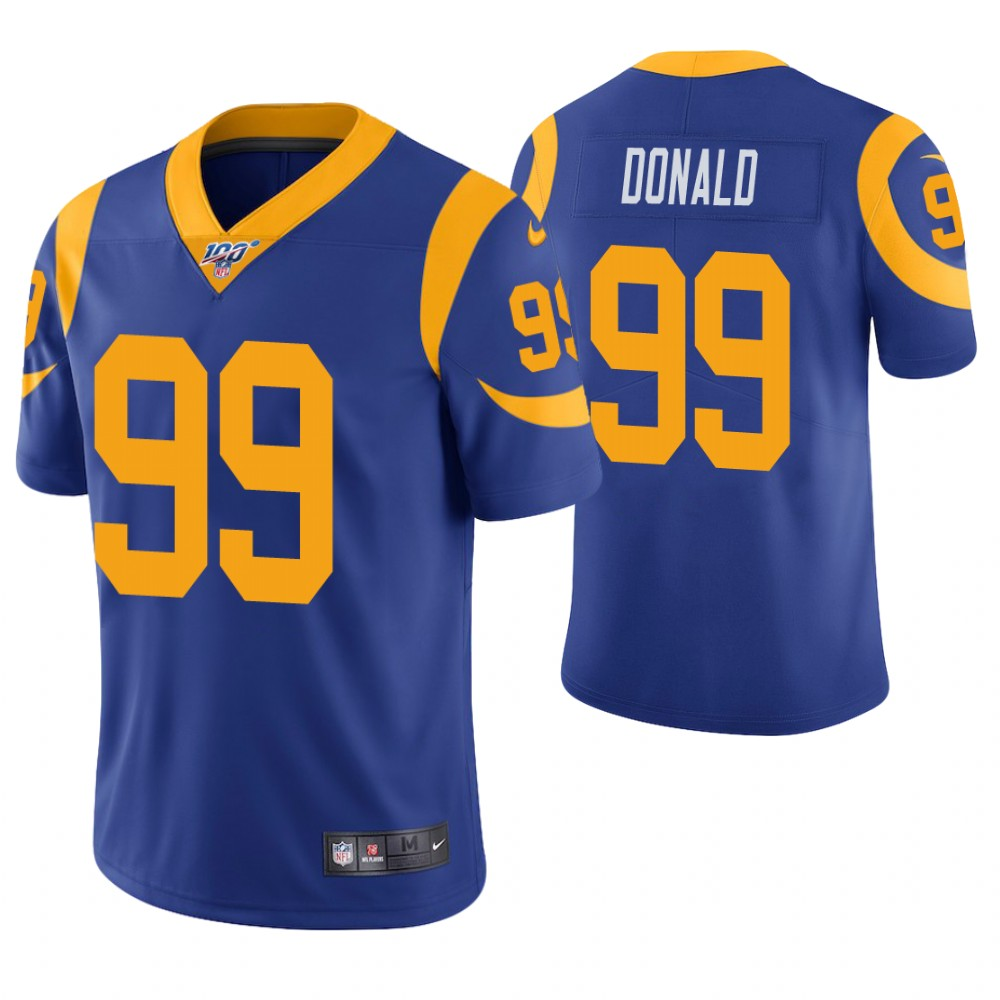 Men's Los Angeles Rams #99 Aaron Donald Royal Blue 100th Season Vapor Untouchable Limited Stitched NFL Jersey