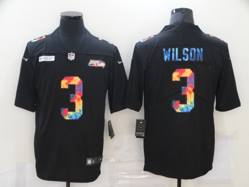 Men's Seattle Seahawks #3 Russell Wilson 2020 Black Crucial Catch Limited Stitched NFL Jersey