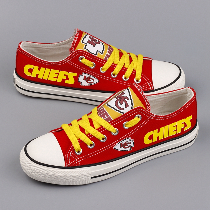 Women and Youth NFL Kansas City Chiefs Repeat Print Low Top Sneakers 001