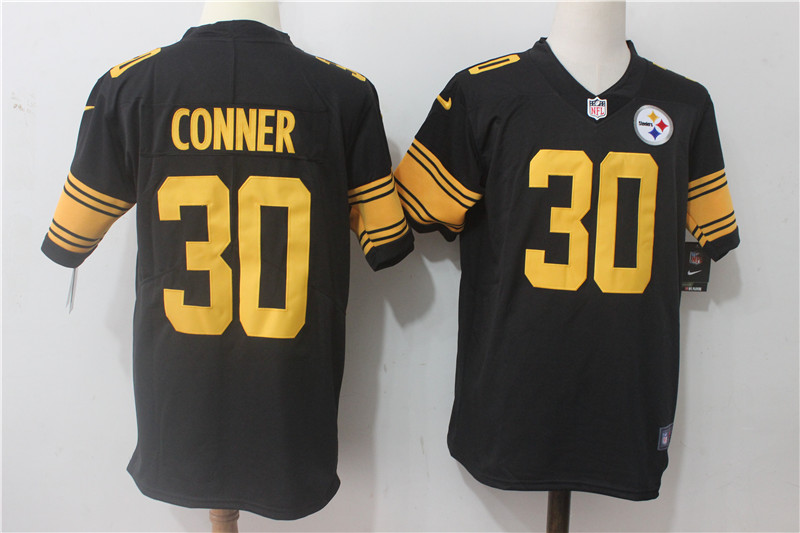 Men's Nike Pittsburgh Steelers #30 James Conner Black Stitched NFL Limited Rush Jersey