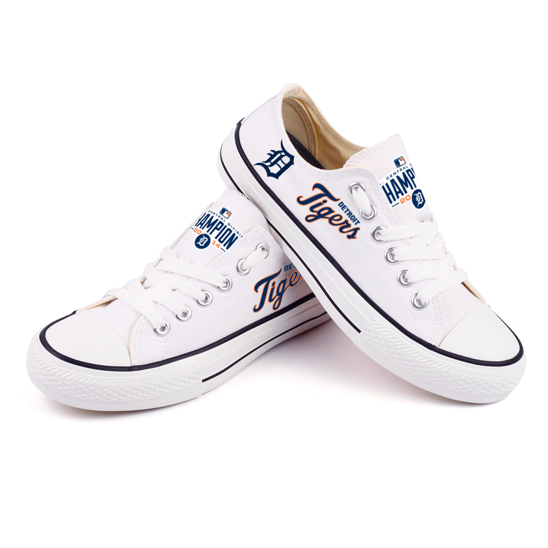 Women and Youth MLB Detroit Tigers Repeat Print Low Top Sneakers 004
