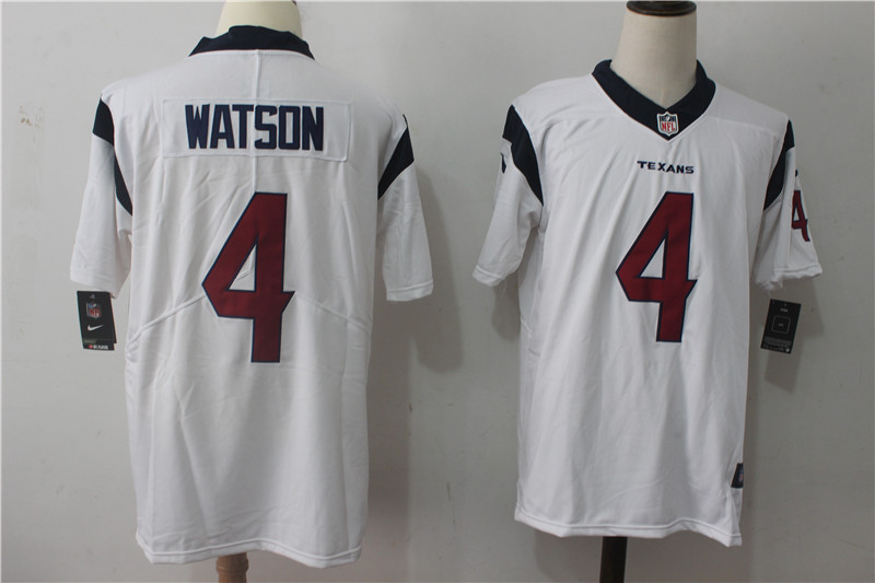 Men's Nike Houston Texans #4 Deshaun Watson White Stitched NFL Vapor Untouchable Limited Jersey