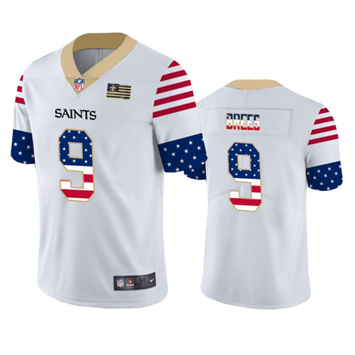 Men's New Orleans Saints #9 Drew Brees White 2019 USA Flag Fashion Limited Stitched NFL Jersey
