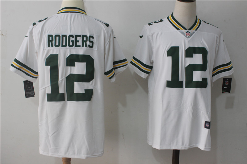 Men's Nike Green Bay Packers #12 Aaron Rodgers White Stitched NFL Vapor Untouchable Limited Jersey
