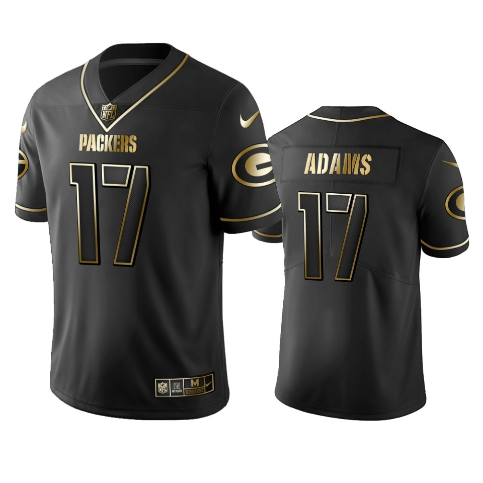 Men's Green Bay Packers #17 Davante Adams Black 2019 Golden Edition Limited Stitched NFL Jersey
