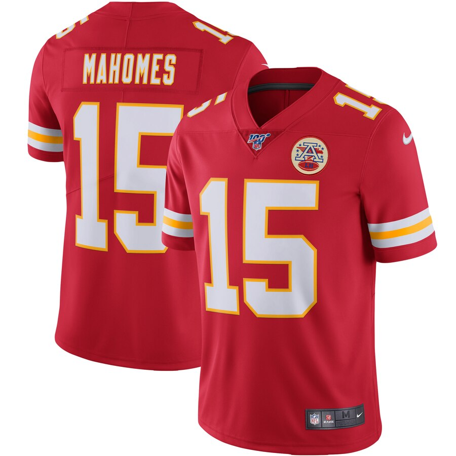 Men's Kansas City Chiefs #15 Patrick Mahomes Red 2019 100th Season Vapor Untouchable Limited Stitched NFL Jersey