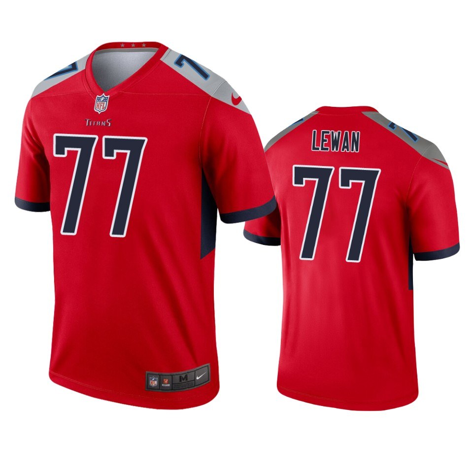Men's Tennessee Titans #77 Taylor Lewan Red Inverted Legend Jersey