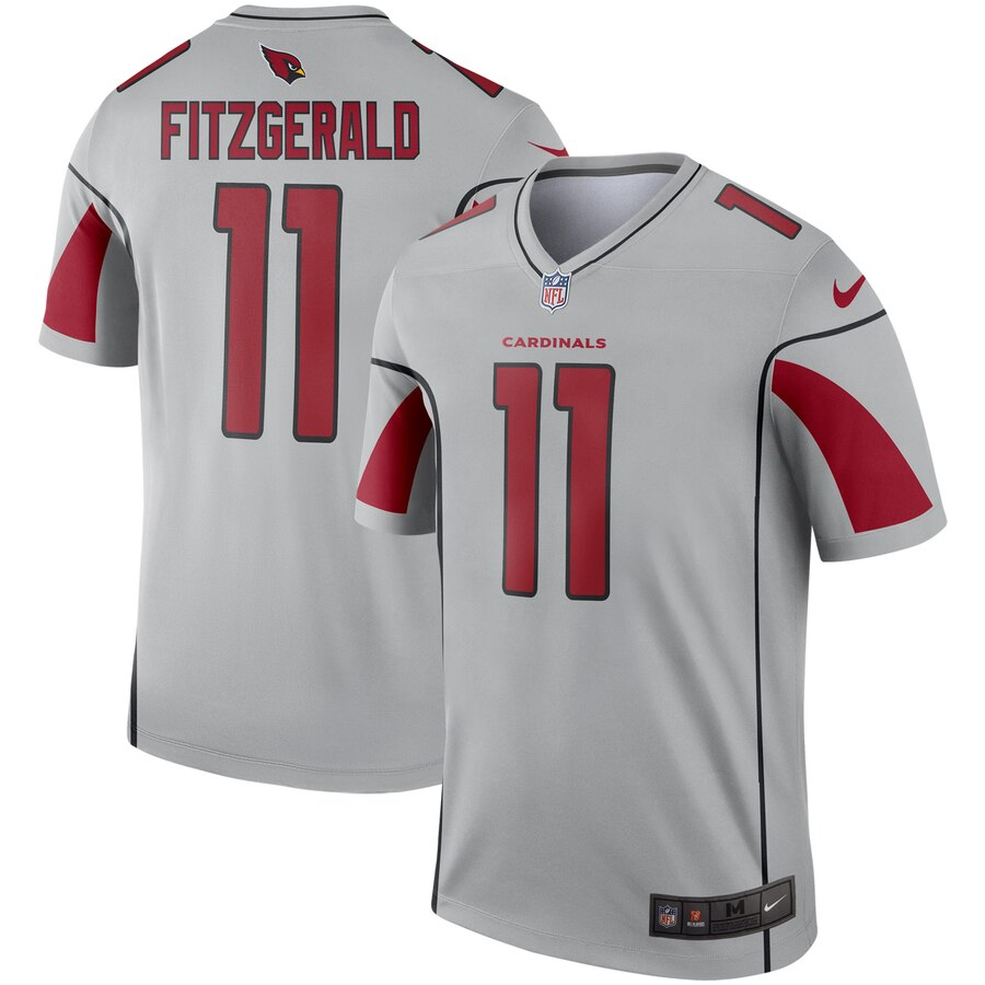 Men's Arizona Cardinals Larry Fitzgerald Silver Inverted Legend Jersey