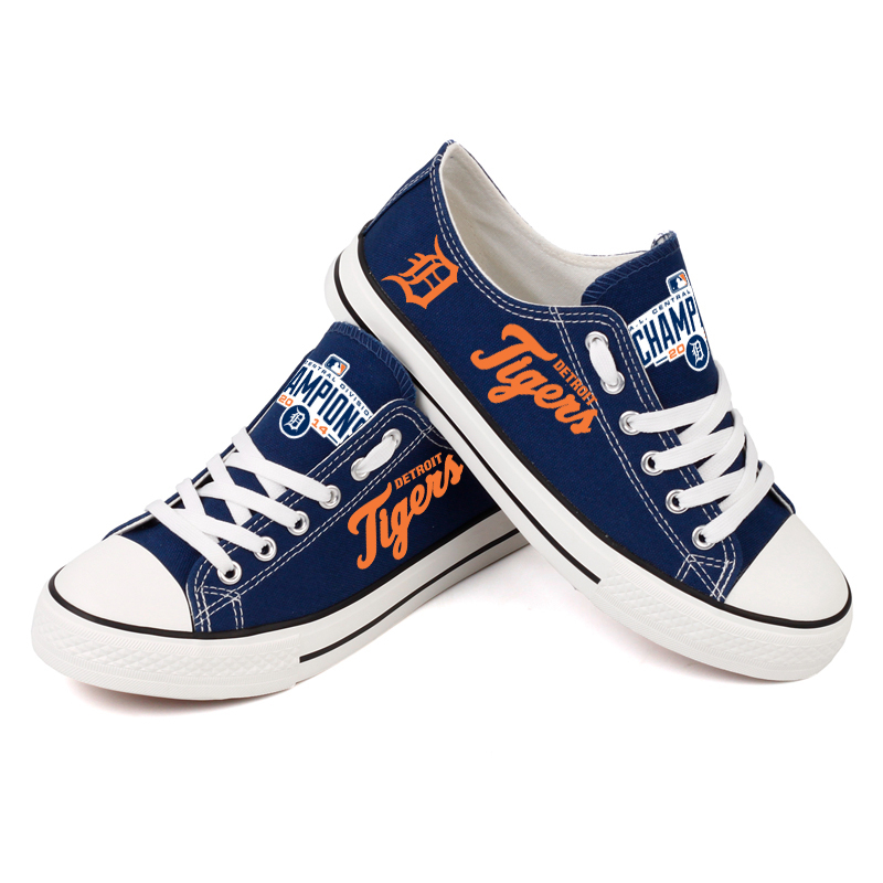 Women and Youth MLB Detroit Tigers Repeat Print Low Top Sneakers 005