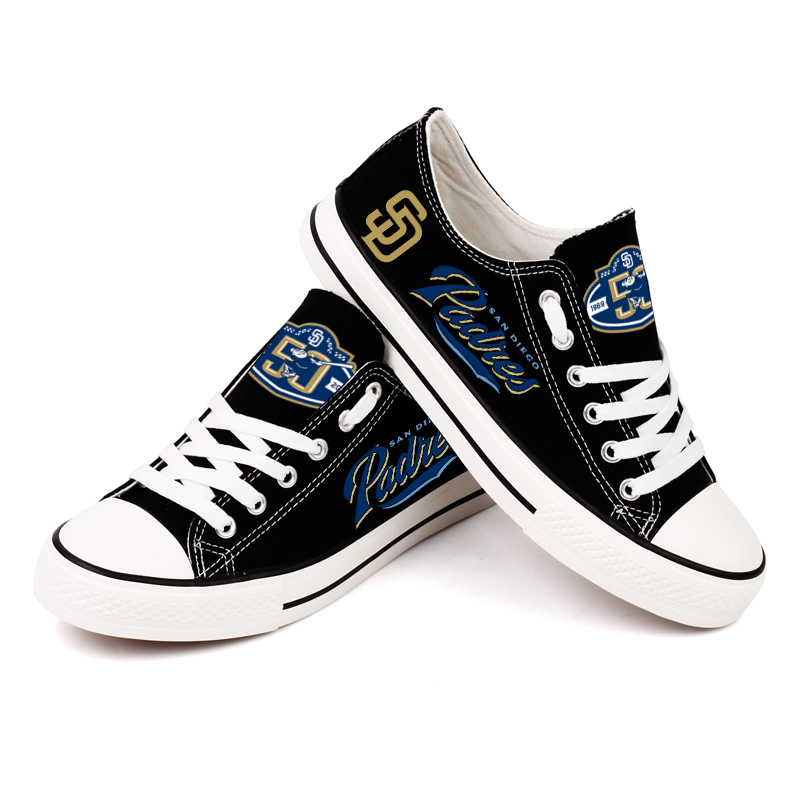 Women and Youth MLB San Diego Padres Repeat Print Low Top Sneakers 002