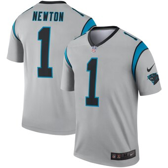 Men's Carolina Panthers #1 Cam Newton Silver Inverted Legend Jersey