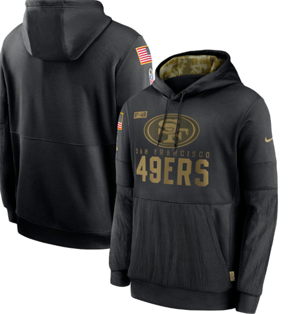 Men's San Francisco 49ers 2020 Black Salute to Service Sideline Performance Pullover NFL Hoodie