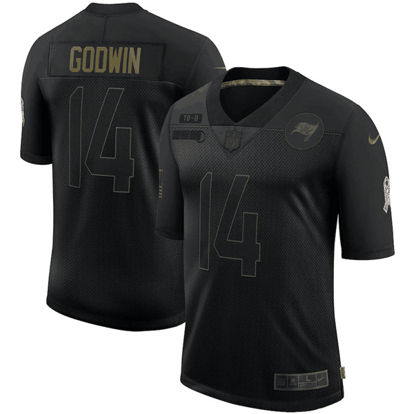 Men's Tampa Bay Buccaneers #14 Chris Godwin Black 2020 Salute To Service Limited Stitched NFL Jersey