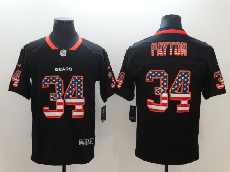 Men's Bears #34 Walter Payton Black USA Flag Color Rush Limited Fashion NFL Stitched Jersey