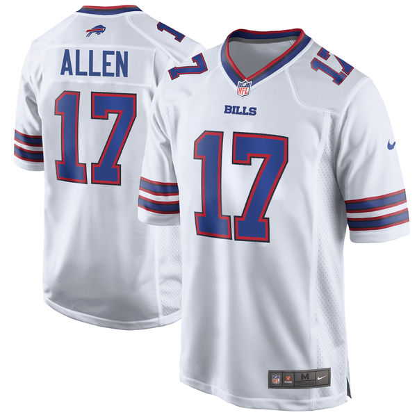 Men's Buffalo Bills #17 Josh Allen White 2018 NFL Draft Pick Game Jersey
