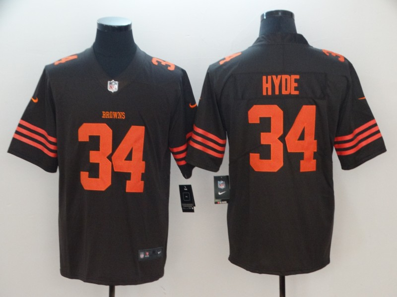 Men's Cleveland Browns #34 Carlos Hyde Brown Color Rush Limited Stitched NFL Jersey